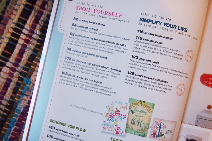 Inhalt von Flow Magazin Ausgabe 2 - Themen für Frauen zu Psychologie, Freundschaft, Inspiration