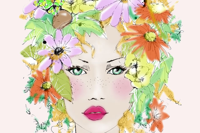 illustration sommer teint beauty make up