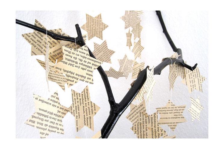 Weihnachtsschmuck und Dekoration Stern-Papiergirlande aus Zeitungen von renna deluxe über DaWanda