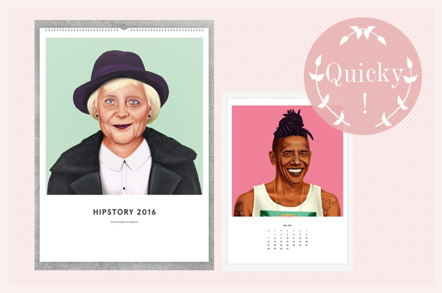 edition ij HIPSTORY Kalender 2016, Obama und Angela Merkel als Hipster, Illustration