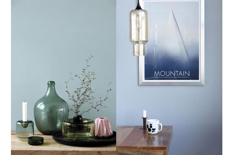 Vasen, Lampen und Bilder mit Illustrationen von House Doktor, Wohntrends 2014, Bilderrahmen in Kupfer, Flaschen in Grün