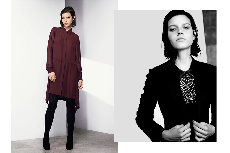 Karen Millen Kollektion Herbst/Winter 2014/15, Hemdblusenkleid aus Seide in Bordeaux und Smoking Jacke online bestellen