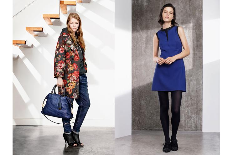 Karen Millen Kollektion Herbst/Winter 2014/15, Mantel mit Blumenmuster, Jeans und Minikleid in Blau online bestellen