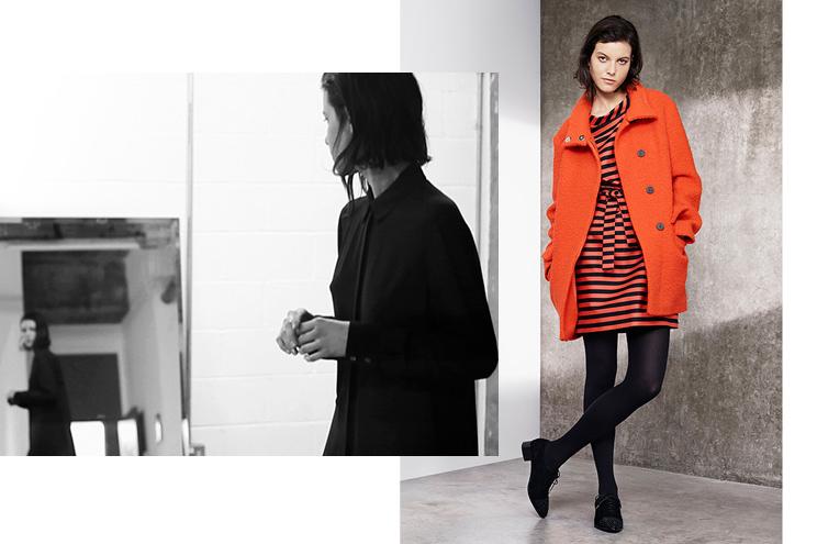 Karen Millen Kollektion Herbst/Winter 2014/15, Kurzmantel in Rot und Kleid mit Streifen online bestellen