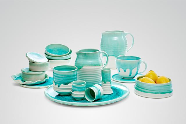Keramik und Porzellan Geschirr von Annika Schüler, Handarbeit, Serie Seegras in Mint/Grün, online bestellen
