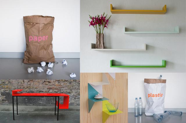Wohnaccessoires, Dekoration, Geschenke und Möbel von KOLOR aus Berlin, online bestellen, Müllsäcke aus Papier, Regal