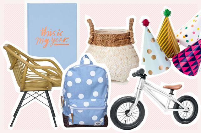 Laufrad, Partyhütchen, Rattan Lounge Chair und Herschel Rucksack für Kinder