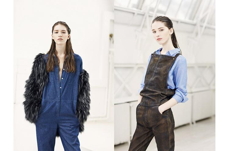 Modelabel Leon & Harper Kollektion Herbst/Winter 2014, Jumpsuit aus Leder und Overall aus Jeans, online bestellen