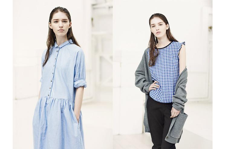 Leon & Harper, Modelabel aus Paris, neue Herbstkollektion mit Jeanskleid, Karobluse und Cardigan