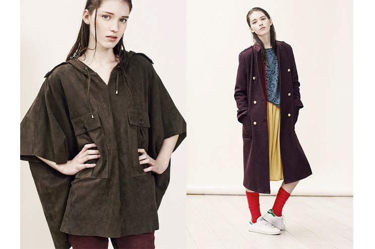Leon & Harper, Modelabel aus Paris, Kollektion Fall/Winter 2014/15, Wildleder Poncho und Oversize Wollmantel