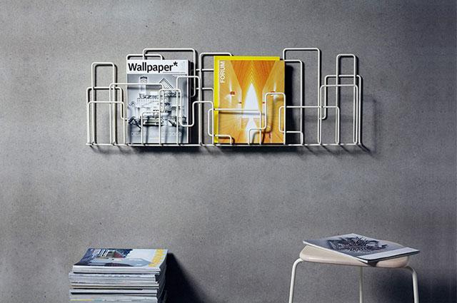 Zeitschriftenregal City Sunday von Widegård Svensson über Minus Tio, Zeitungsständer, Zeitschriftenständer, Zeitungshalter, Zeitschrtiftenhalter, Metall,