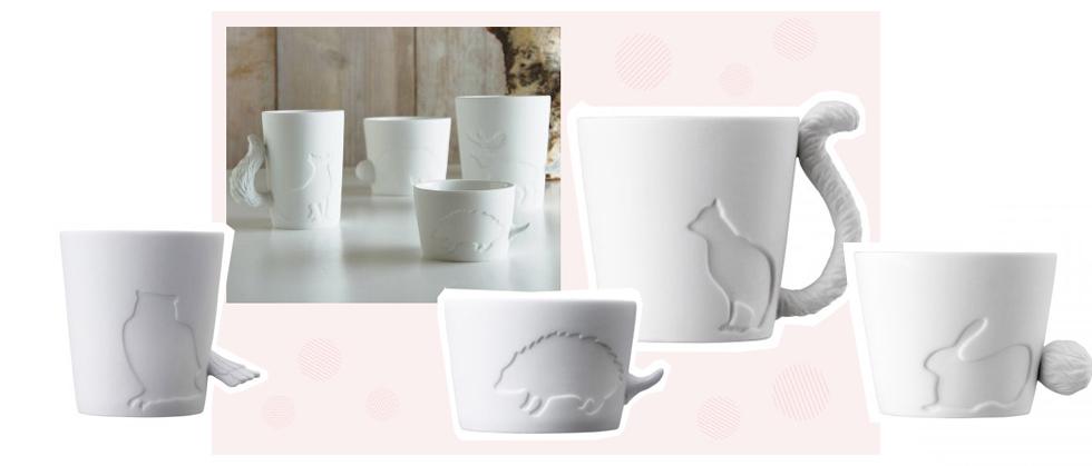 MUGTAIL Tassen von Kinto, Tiere mit Schwanz als Henkel - Design aus Japan, Teetassen, Kaffetassen, Motiv,