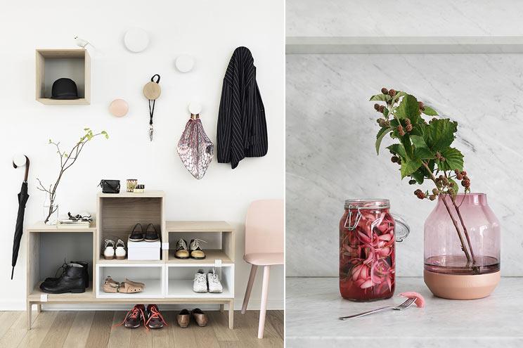 Muuto Regal und Garderobe The Dots mit Vase in Rosa, Möbel, Dekoration, Einrichtung, Möbel, Skandinavien