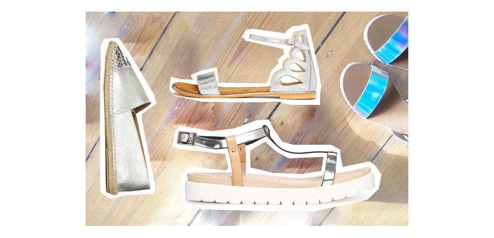 Sandalen, Slipper, Espadrilles, Pantoletten und viele weitere Schuhe im Sommer in Silber Metallic online bestellen