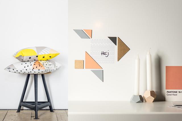 Nice Nice Nice Wohnaccessoires mit Tangram Küchenaccessoires, Kissen und viele Dekorationen mit grafischen Mustern