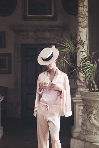 Olivia von Halle Kollektion Frühling/Sommer 2014 - The Gosford Collection, Spring Summer, Seidenpyjama, Pyjama und Schlafanzug aus Seide Rosa