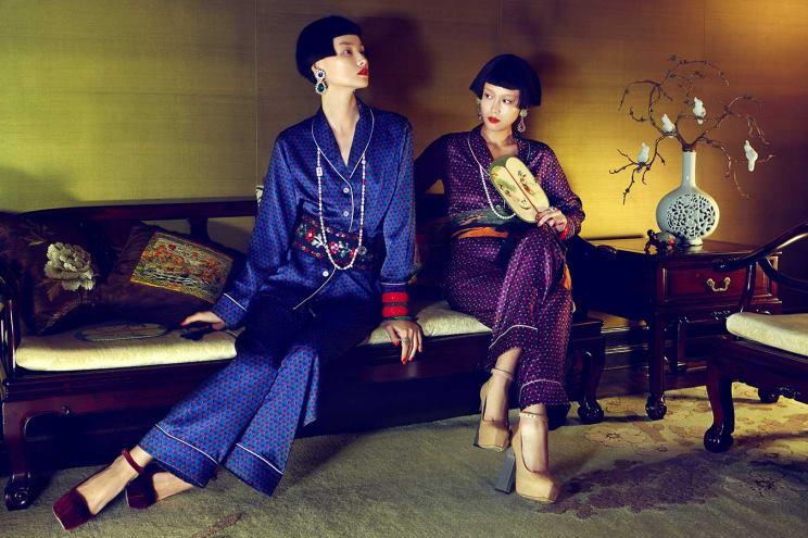 Herbst/ Winter 2013 Kollektion von Olivia von Halle - The Shanghai Collection - Seidenpyjamas und Schlafanzüge aus Seide