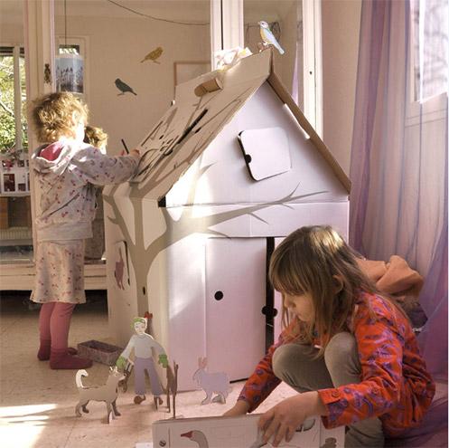 Papphaus zum Bemalen für Kinder aus Karton von Calafant, Weiß, über Kinder Onlineshop Smallable