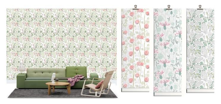 Designertapete mit Pflanzen Illustration von Photowall