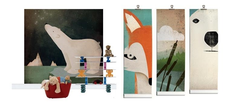 Fototapete für Kinderzimmer mit Zoo Tieren gemalt