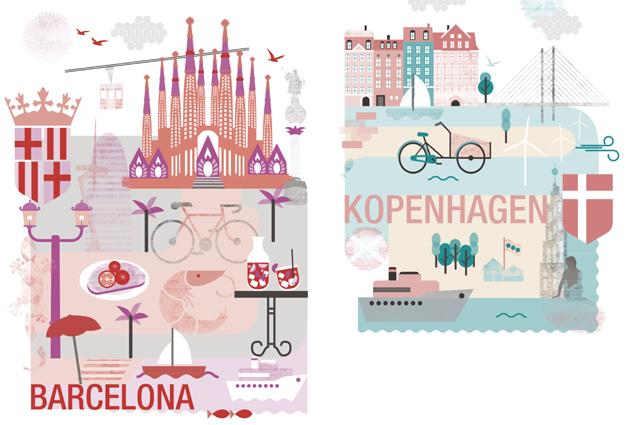 Städteposter Barcelona und Kopenhagen, kostenloser Download und Print zum selber ausdrucken