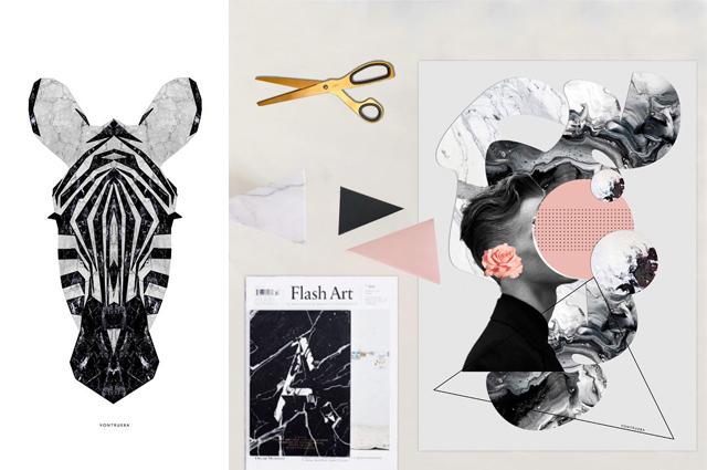 Print und Poster mit Collage und Illustration von vontrueba - Trend Marmor und Zebra, online bestellen