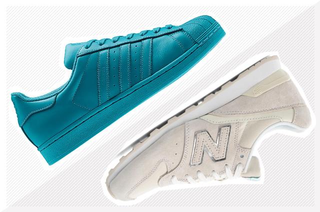 Adidas Originals Superstar, Supercolor von Pharrell Williams und New Balance Sneakers in Weiß