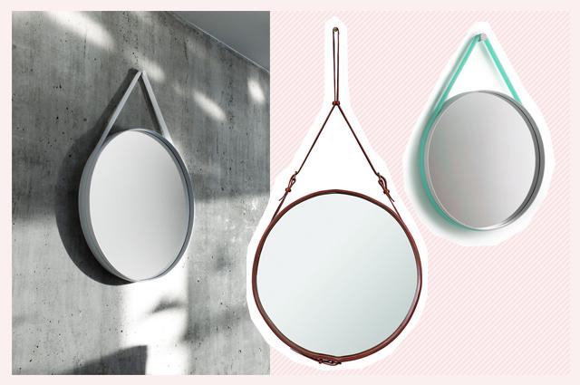 Mirror, Adnet Spiegel von Gubi, rund mit Leder, und Strap Mirror von Hay mit Gummiband, online bestellen