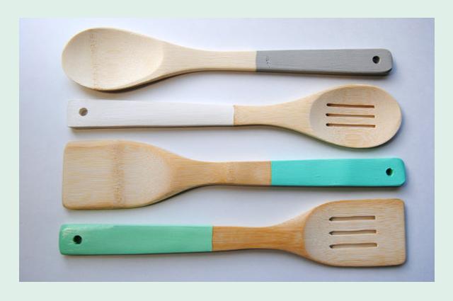 Kochlöffel und Essstäbchen aus Bambus von Storiebrookes online bestellen, Farbe, Pastell, getaucht