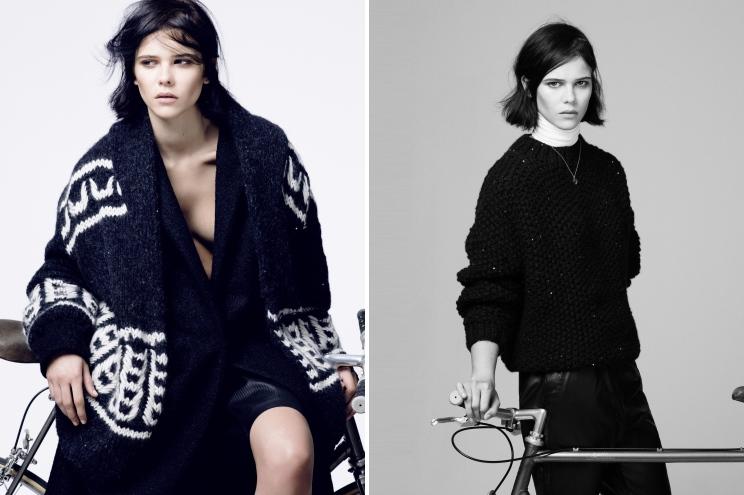 Strick im Winter, Grobstrick Cardigan und Pullover von Modelabel Lala Berlin und Garnhersteller Lana Grossa