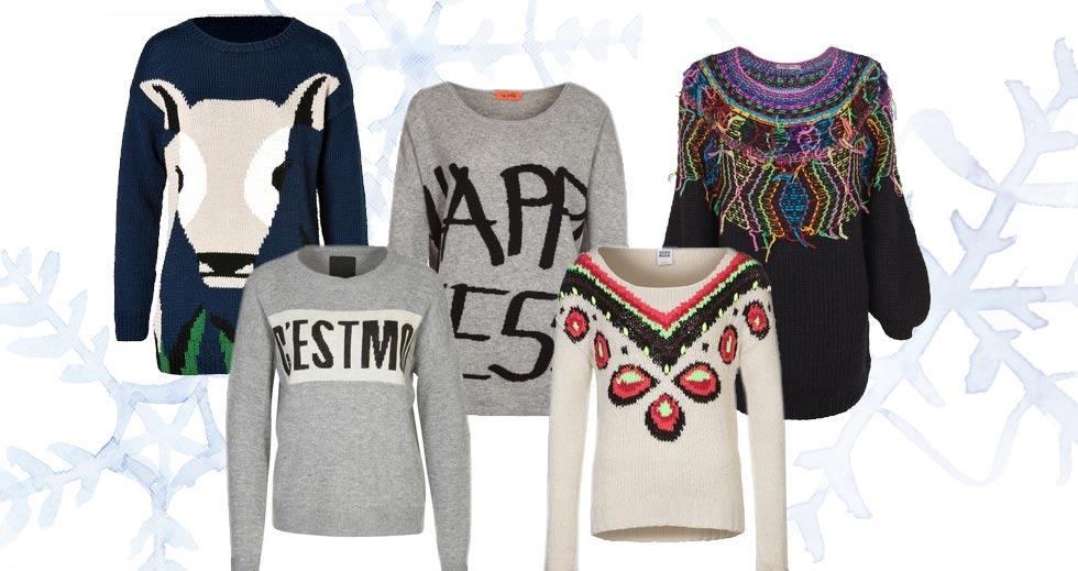 Strickpullover, Wollpullover mit Tiermotiven, Norweger Pullover oder Pullover aus Wolle in Grau Melange als Wintertrend 2014