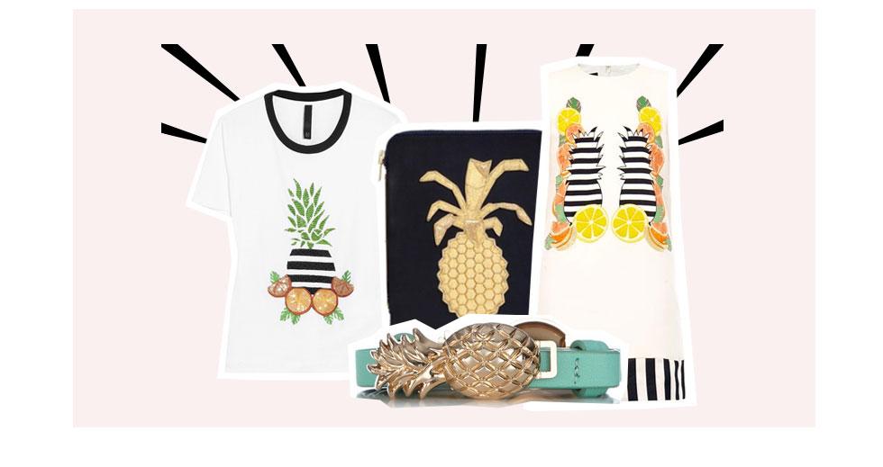 styling mit früchten auf shirts, schmuck und pullis