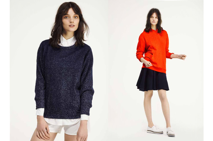 Sweatshirt in Blau und Kapuzen-Sweatshirt in Rot von Seek no Further, neue Kollektion im Sommer 2014 von Fruit of the Loom