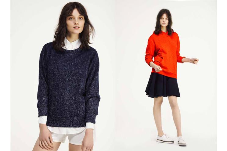 Sweatshirt in Blau und Kapuzen-Sweatshirt in Rot von Seek no Further, neue Kollektion im Sommer 2014 von Fruit of the Loom