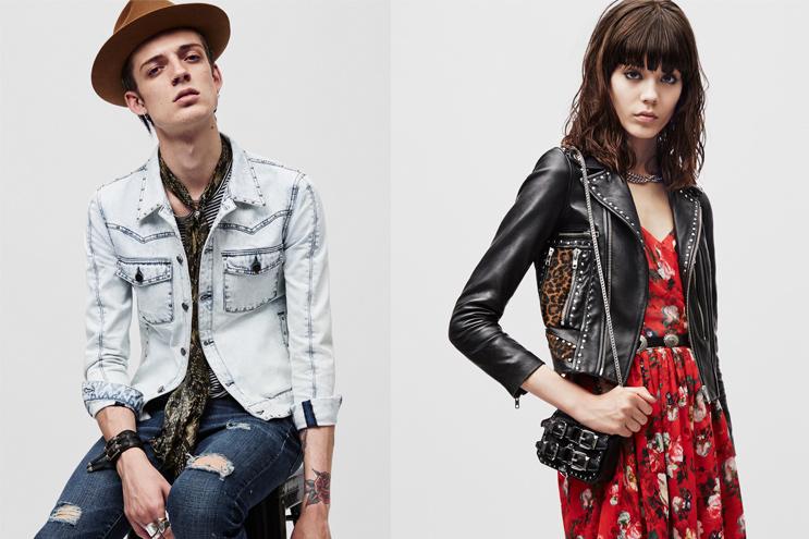 Modetrend Hippie und rockig mit Lederjacken, Kleidern und Maßanzügen für Herren aus der neuen Frühling/Sommer 2015 Kollektion von The Kooples, online bestellen