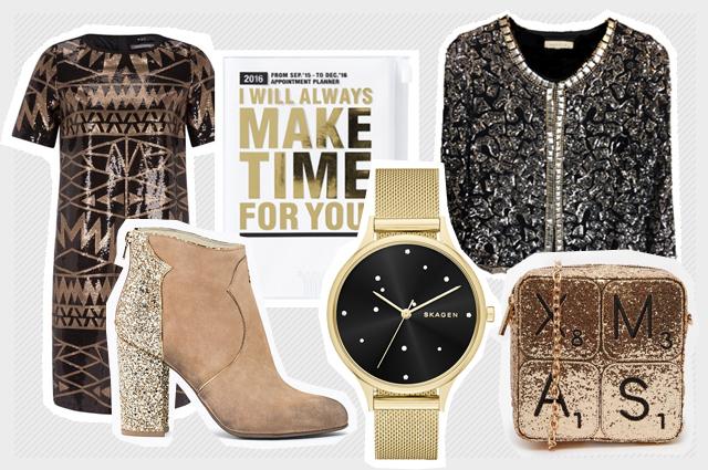 Weihnachtsdekoration und Outfit mit Gold, Silber, Pailletten ud Glitzer